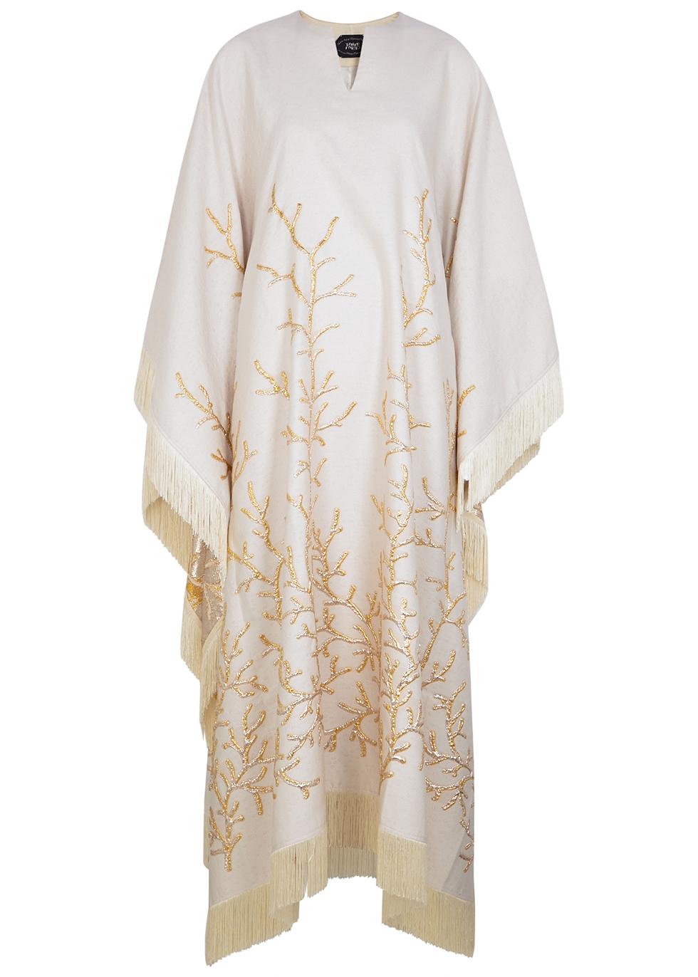 Los Corales fringe-trimmed jacquard gown