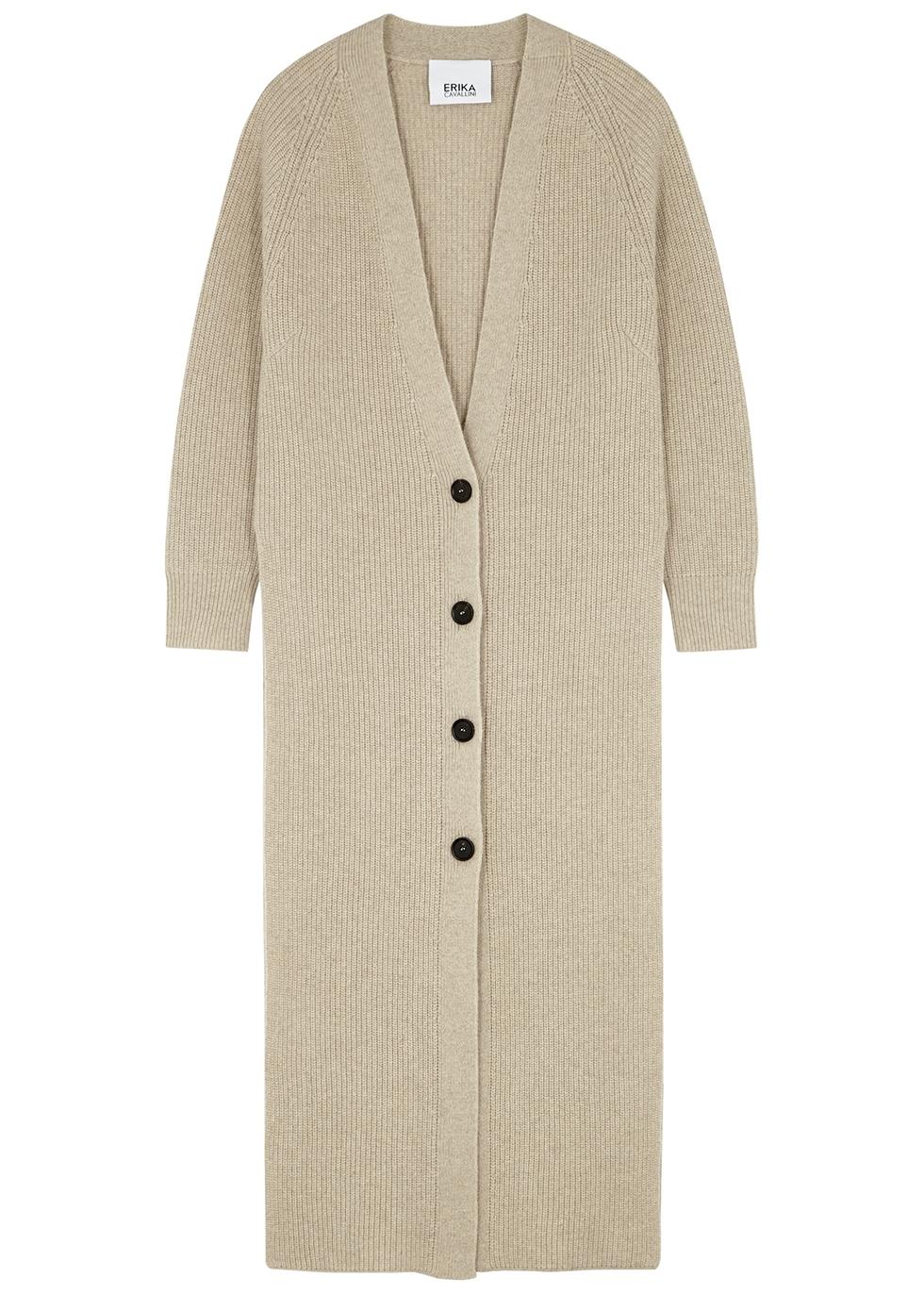 Stone longline wool-blend cardigan