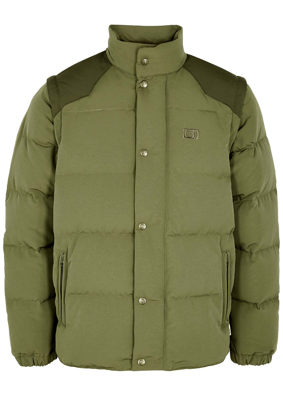 Army green quilted nylon jacket