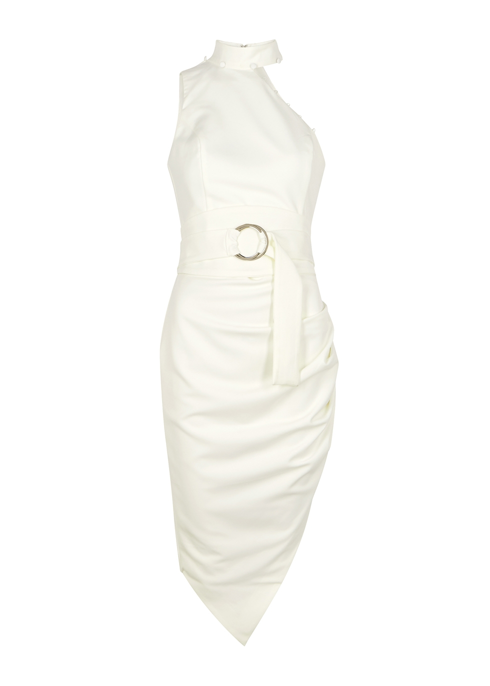 White cut-out belted midi dress
