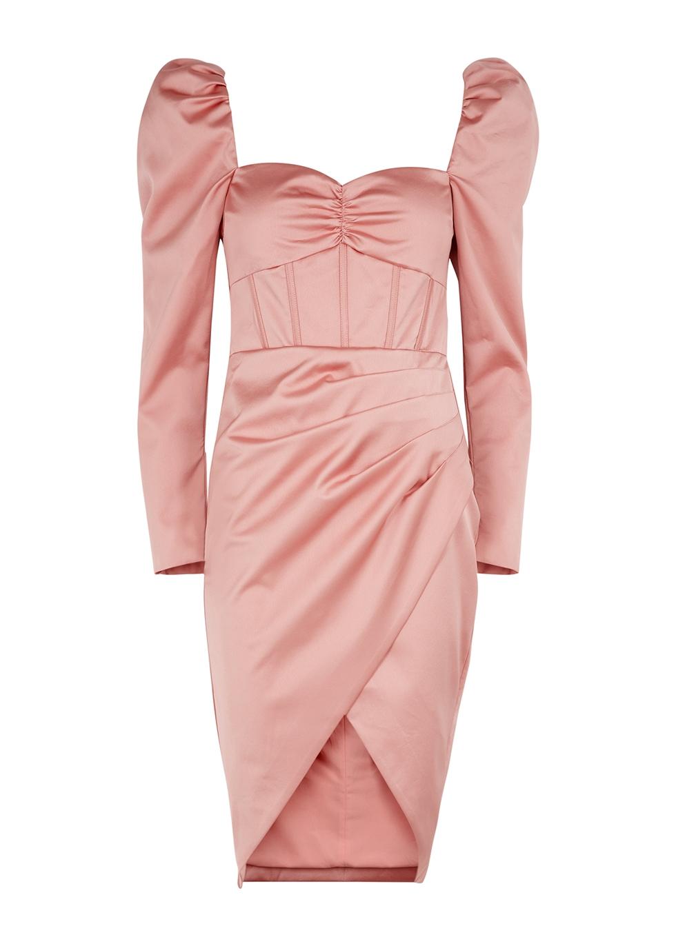 Pink puff-sleeve satin corset midi dress