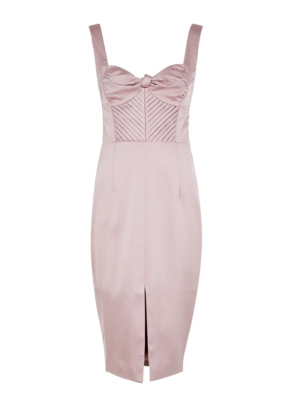 Lilac bow-embellished satin midi dress