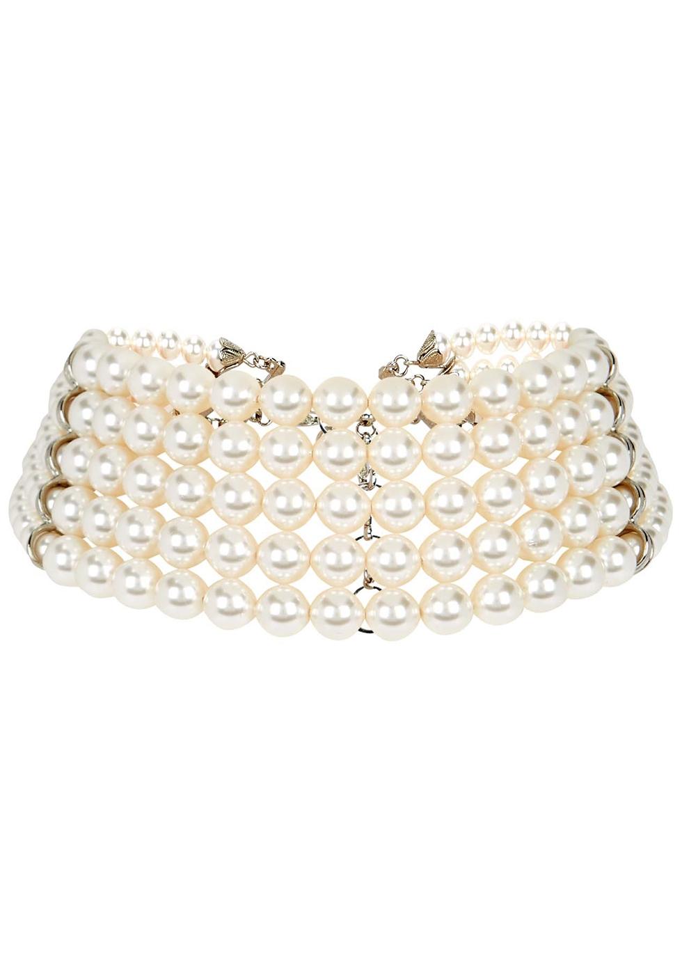 Faux pearl layered choker
