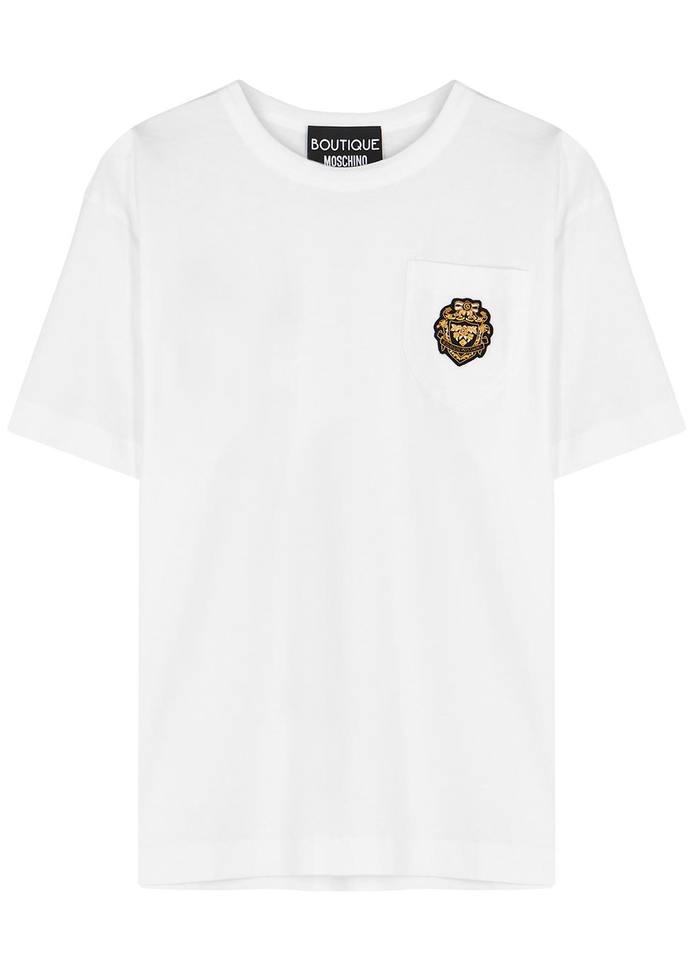 White appliquéd cotton T-shirt