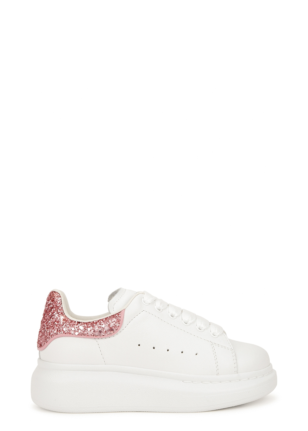 Larry white glittered leather sneakers