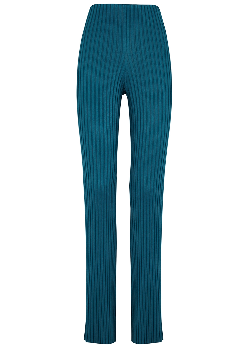 Rhea teal ribbed-knit trousers