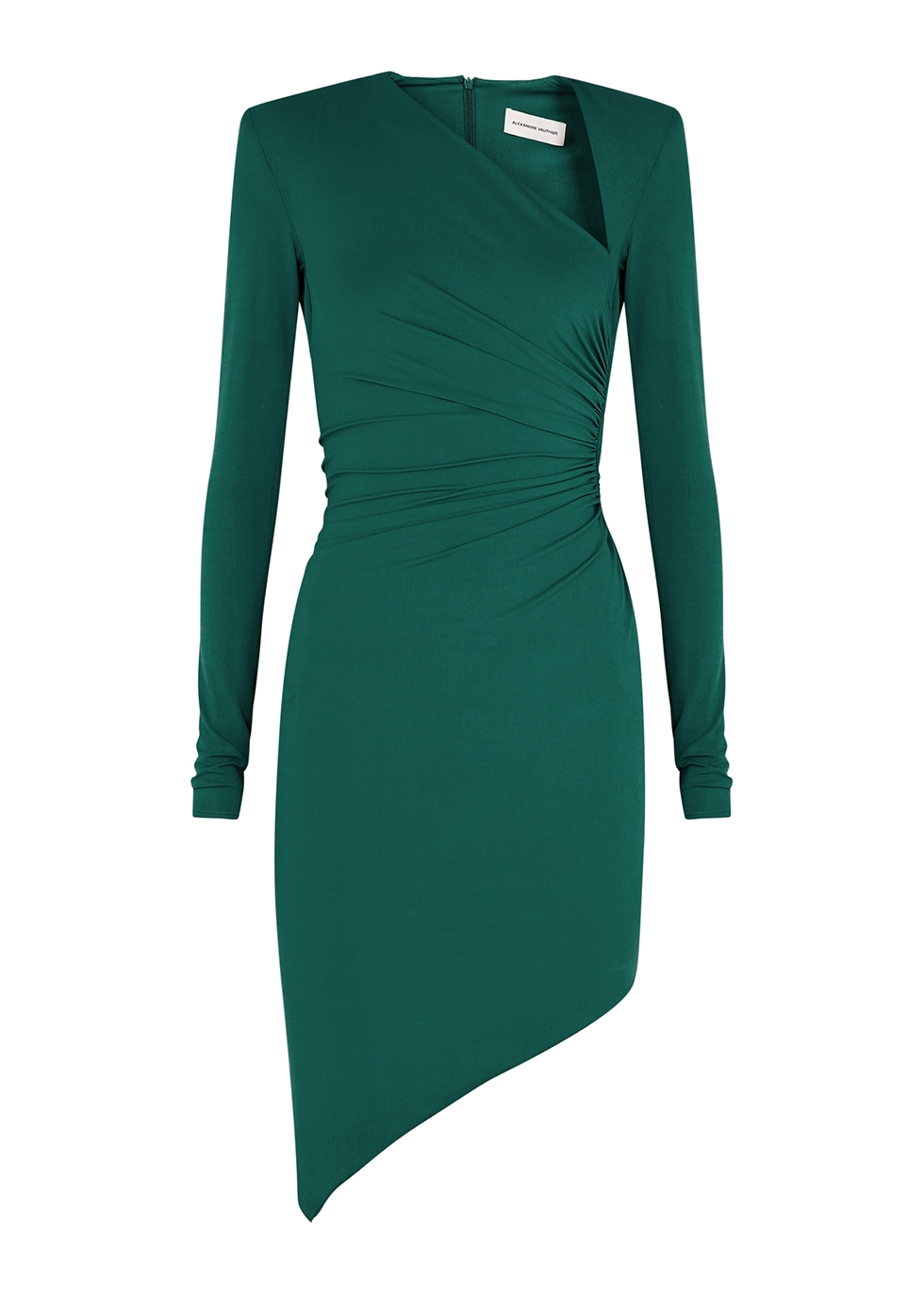 Green asymmetric mini dress