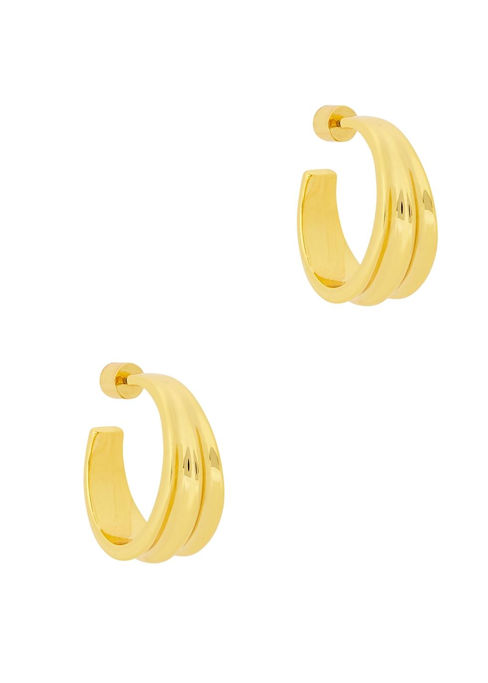 Pleated 14kt gold-dipped hoop earrings