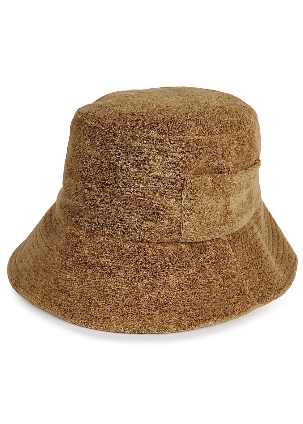 Brown terry bucket hat