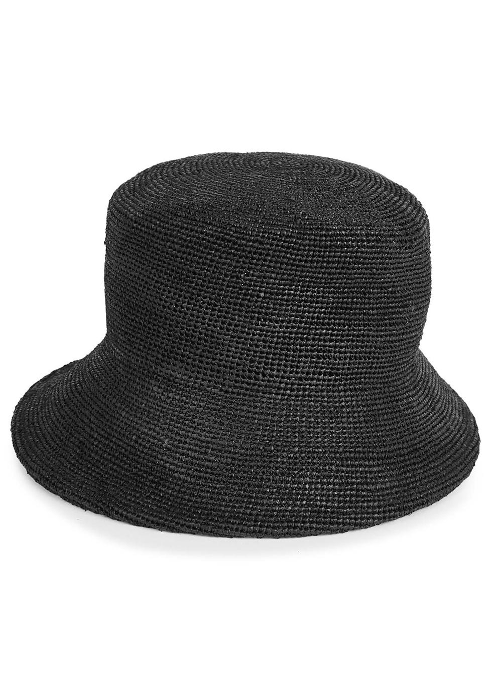 Inca black raffia straw bucket hat