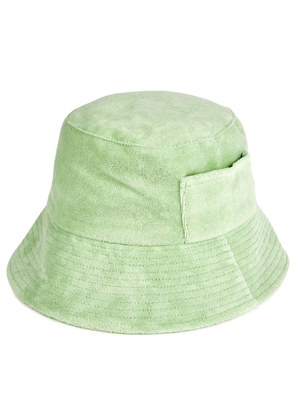 Green terry bucket hat