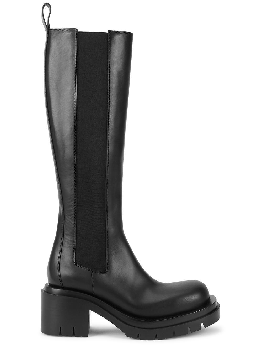 Lug black leather knee-high Chelsea boots
