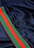 Navy striped satin-jersey sweatpants - Gucci