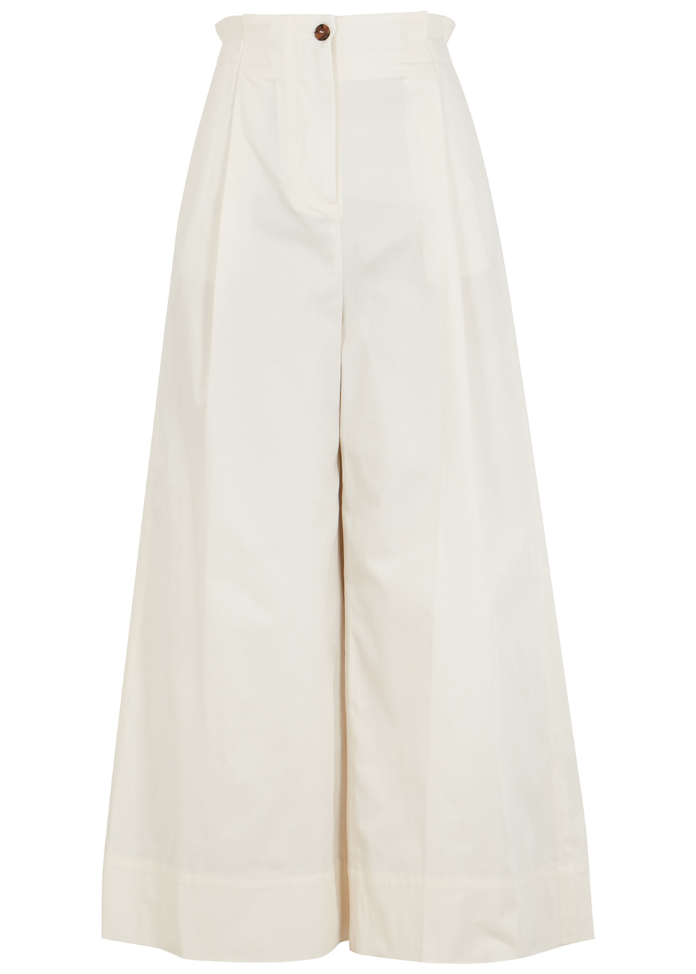 Sargent ivory cropped wide-leg trousers