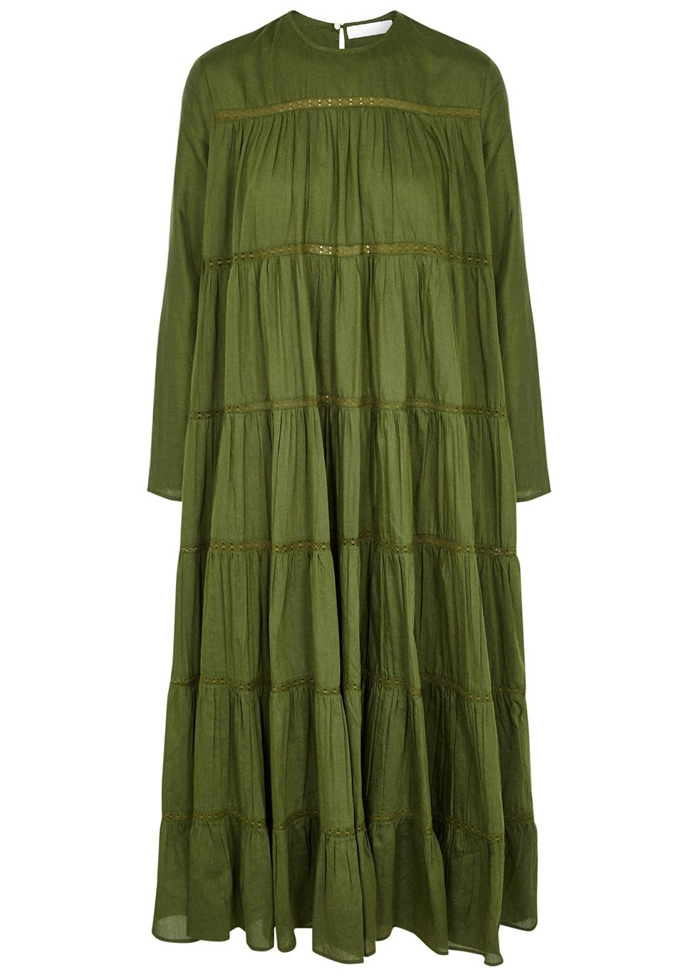 Maida green tiered cotton-blend midi dress