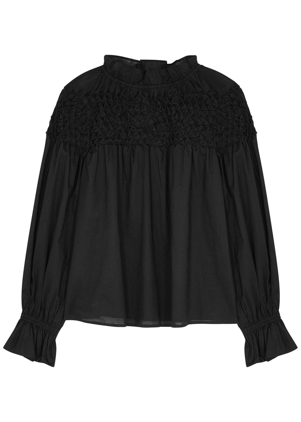 Majorelle black smocked cotton blouse