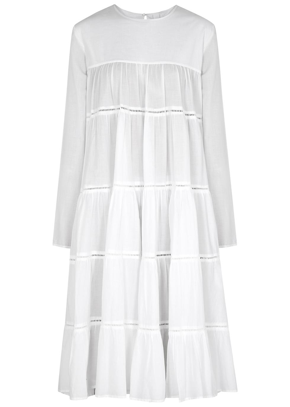 Essaouira white tiered cotton midi dress