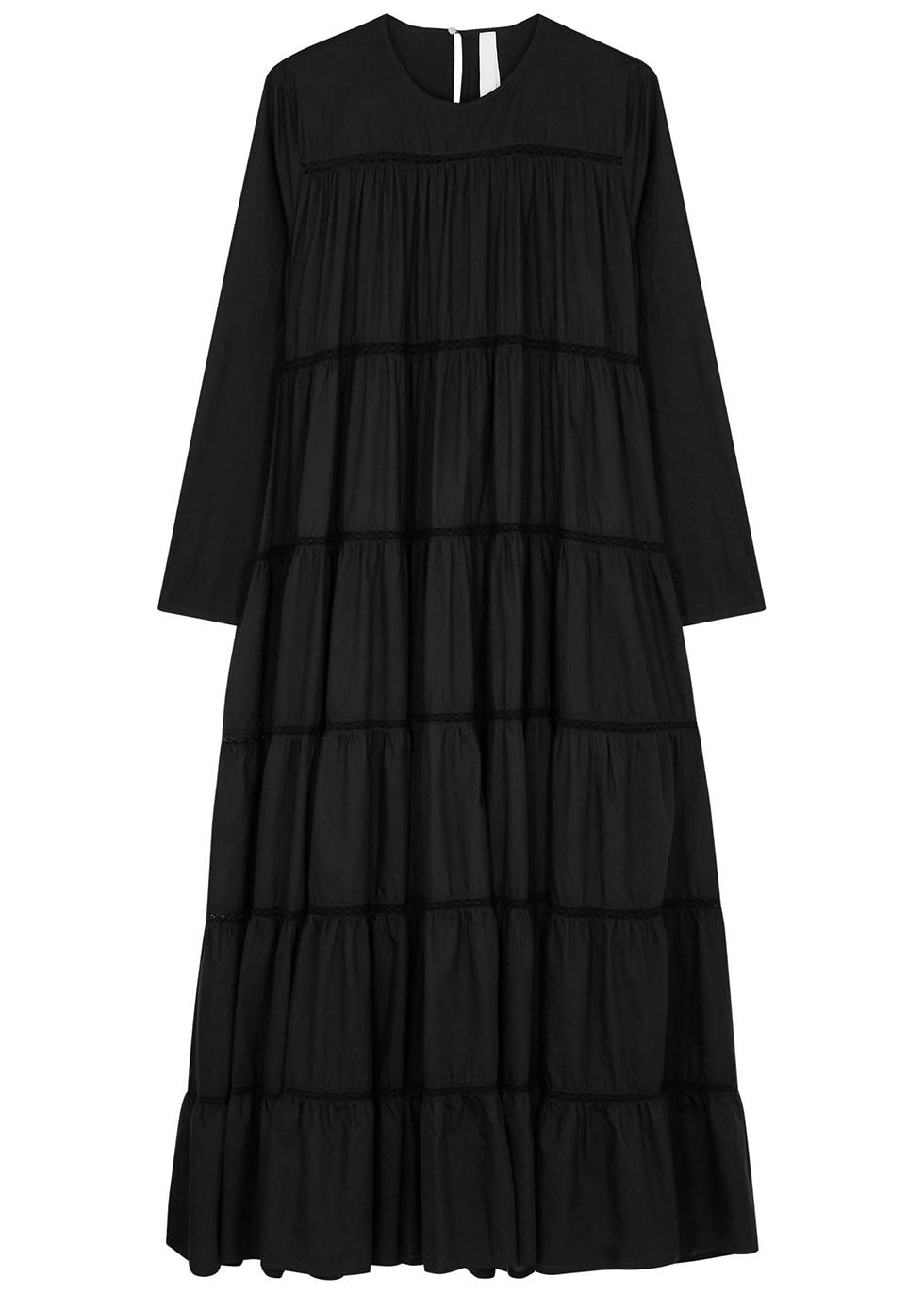 Maida black tiered cotton-blend dress