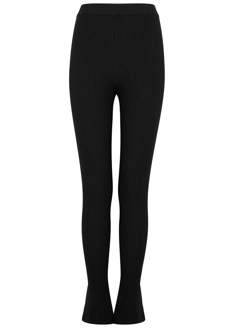Alban black ribbed stretch-wool leggings