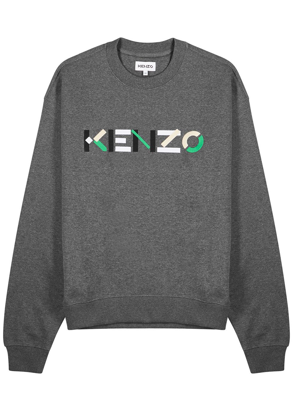 Grey logo-embroidered cotton sweatshirt