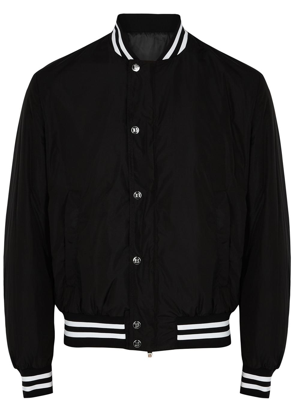 Black padded shell bomber jacket