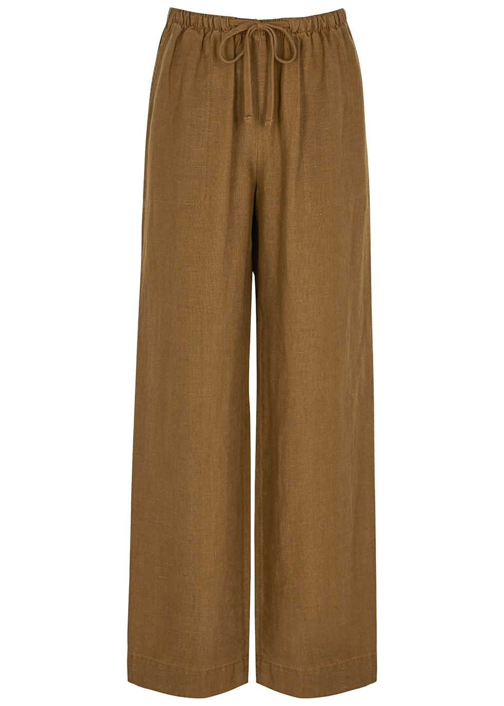 Brown wide-leg woven trousers