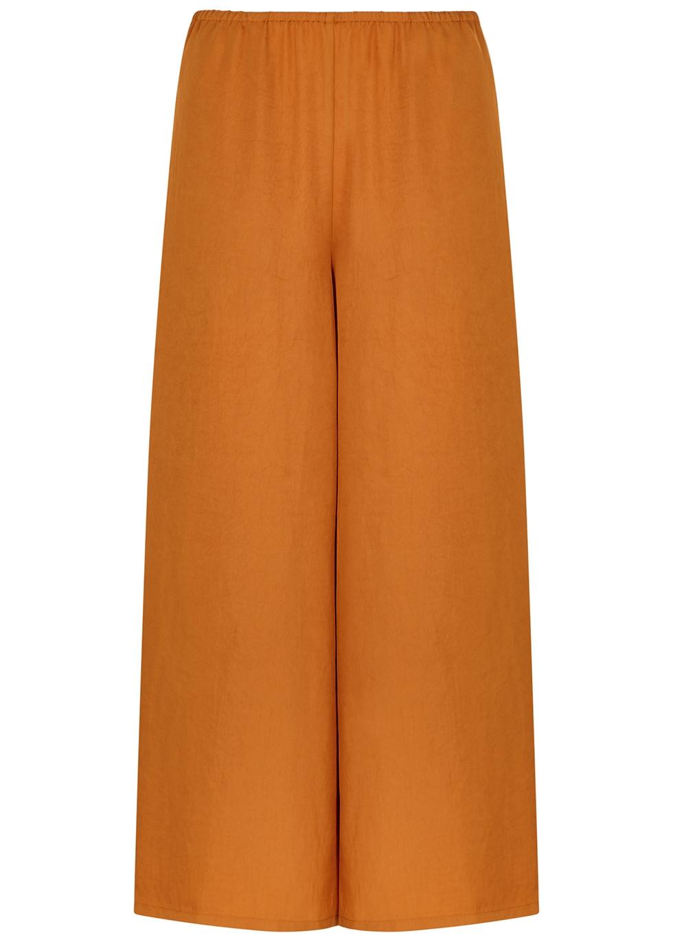 Amber wide-leg satin-twill culottes