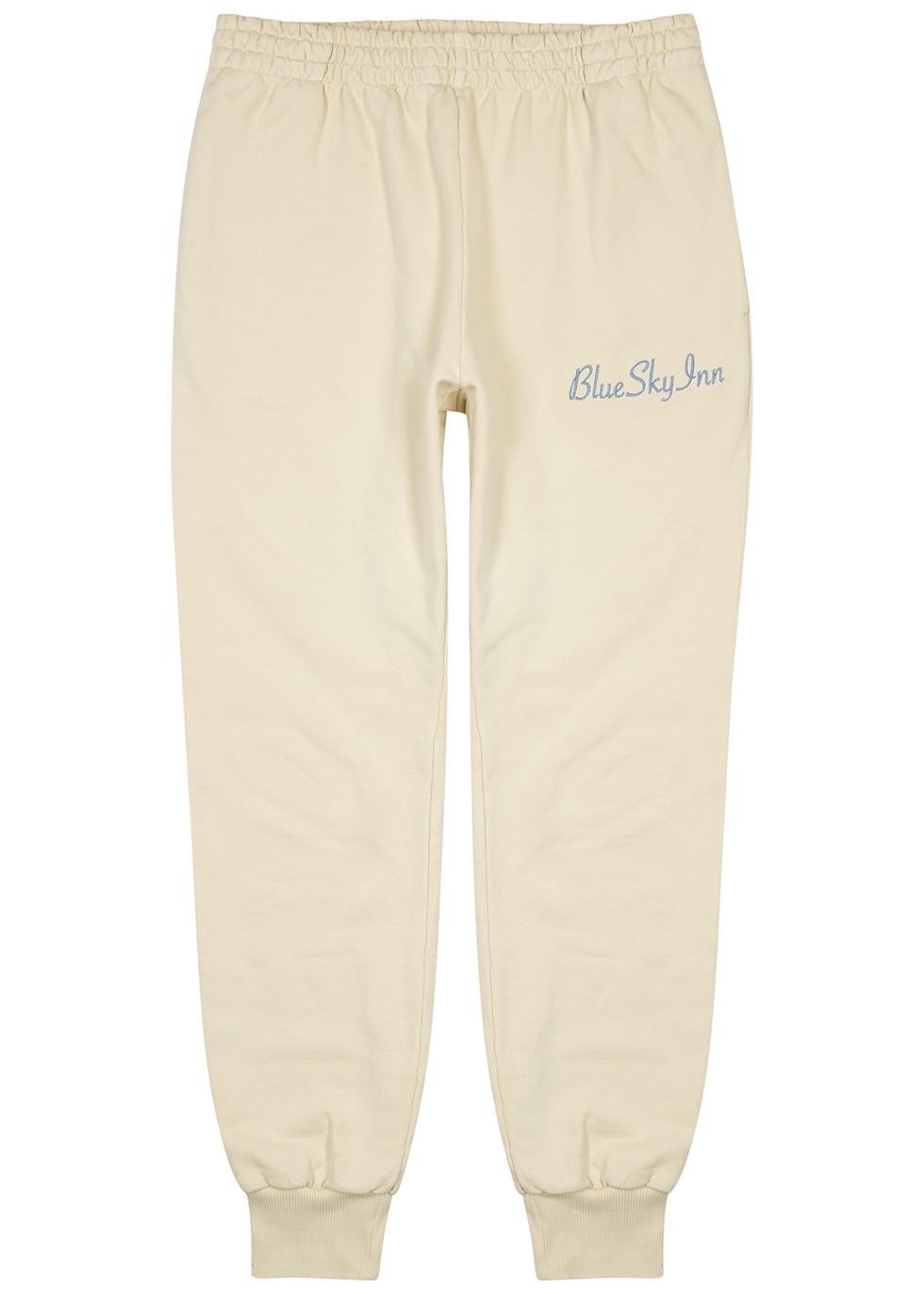 Cream logo-embroidered cotton sweatpants
