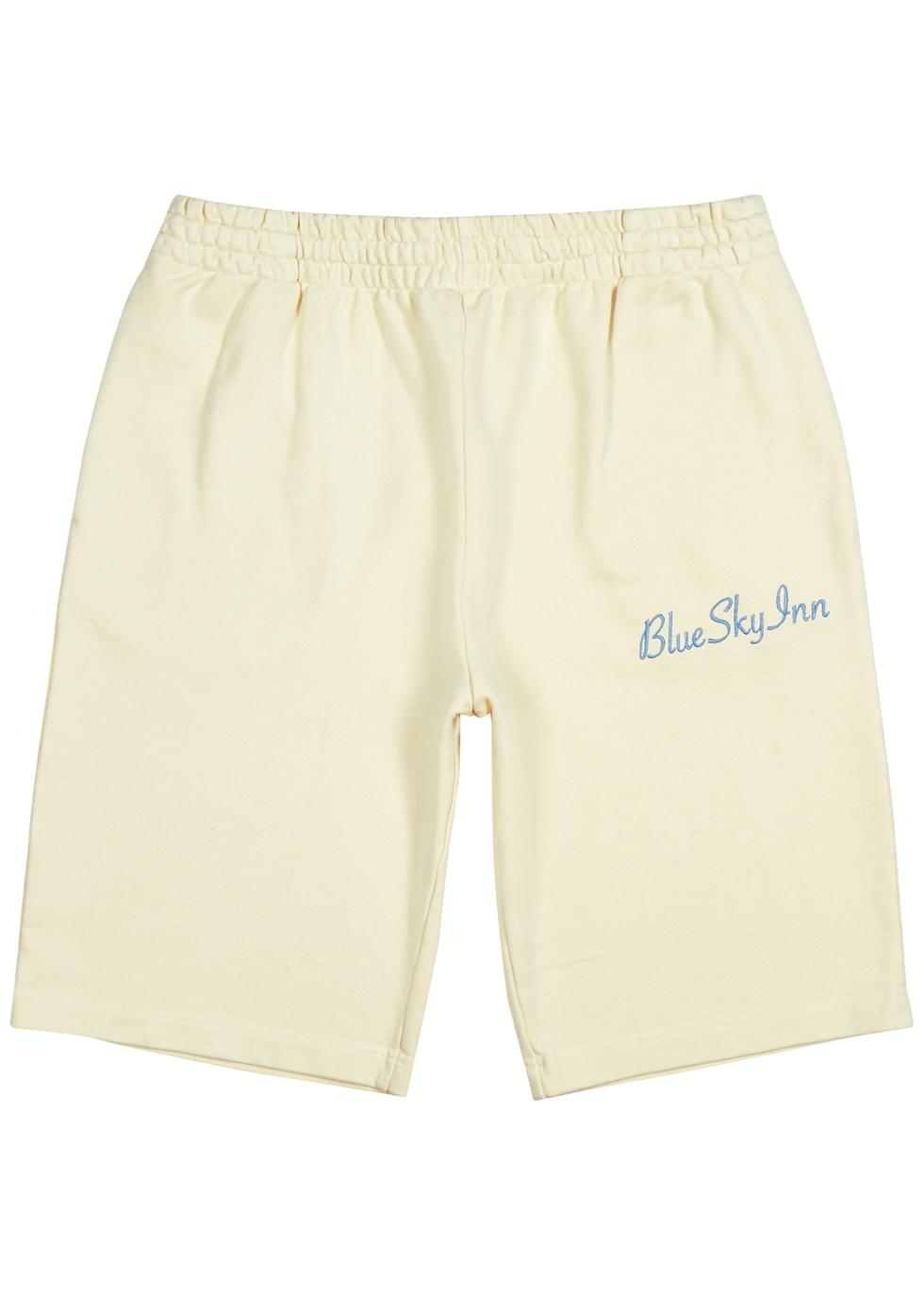 Cream logo-embroidered cotton shorts