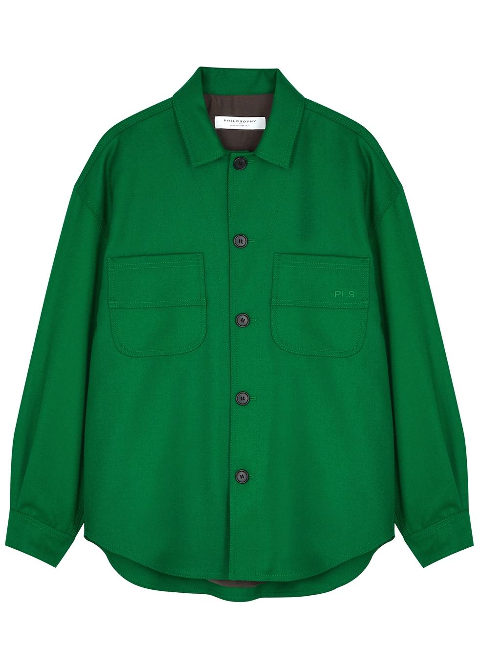 Green wool shirt jacket