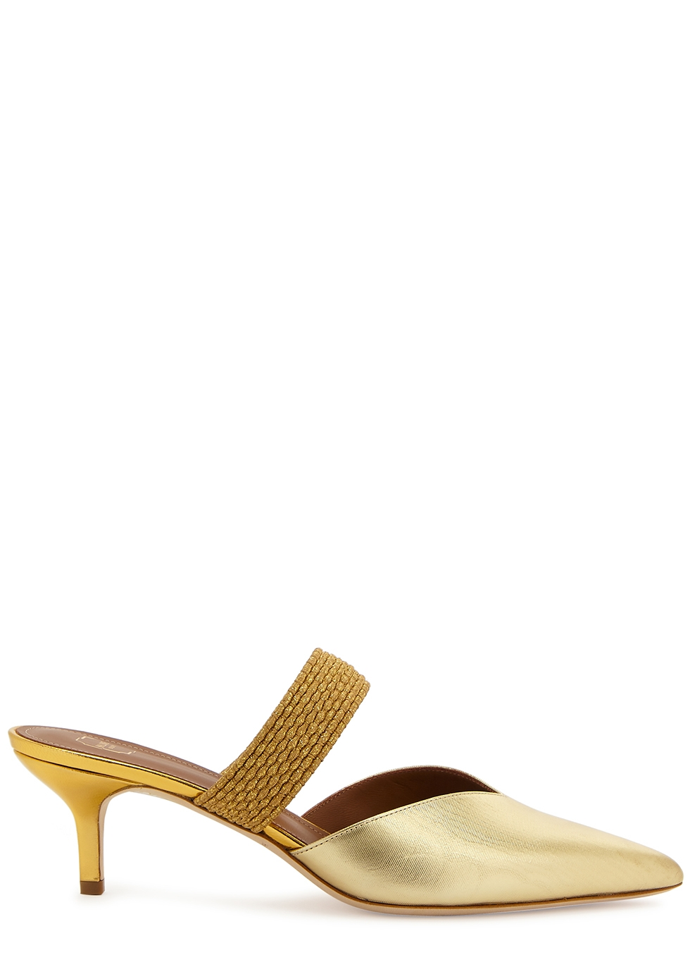 Maisie 65 gold leather mules