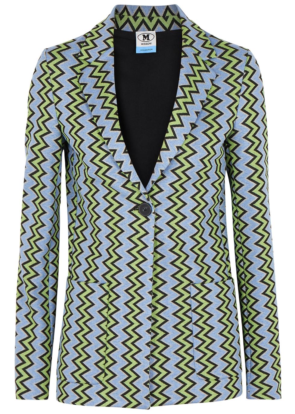 Blue zigzag jersey blazer