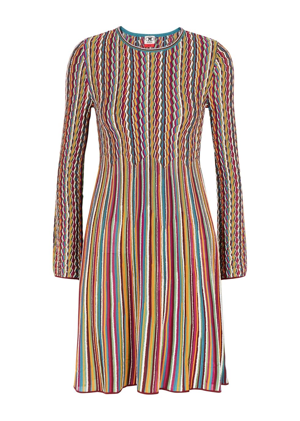 Striped fine-knit mini dress