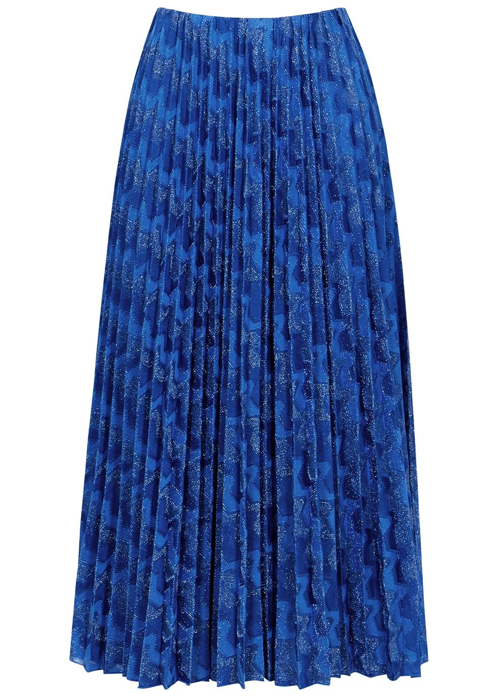 Blue zigzag pleated metallic-weave midi skirt