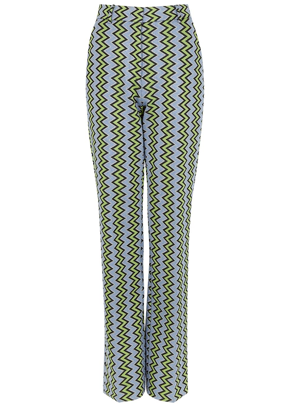 Blue zigzag straight-leg jersey trousers