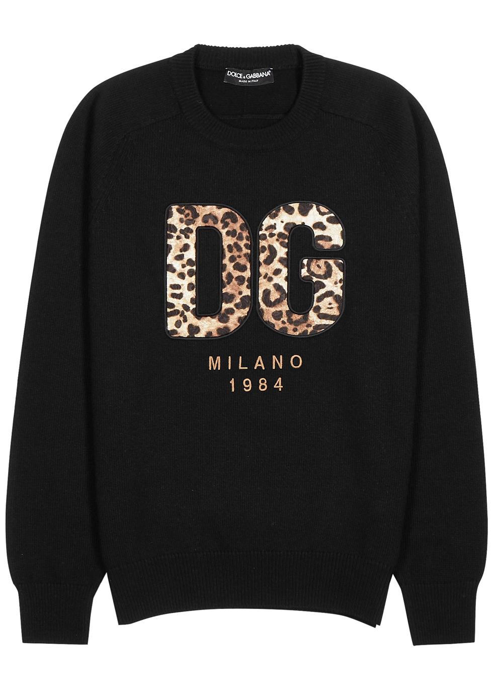 Black logo-appliquéd wool jumper
