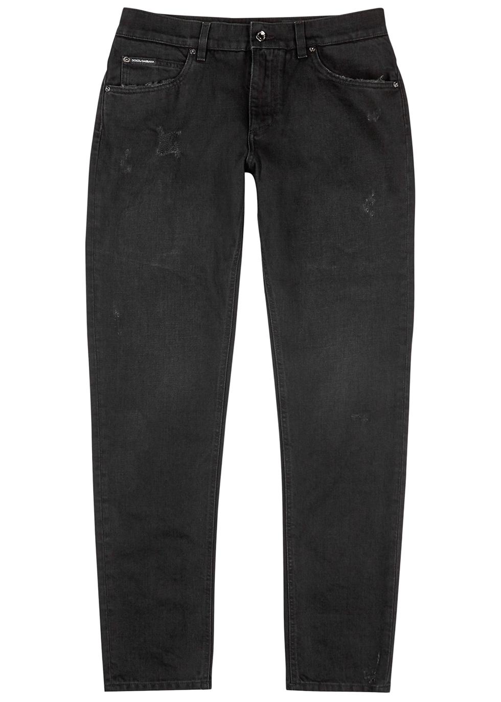 Black slim-leg jeans