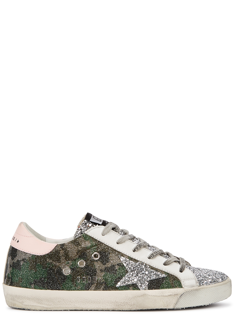 Superstar camouflage-print distressed sneakers