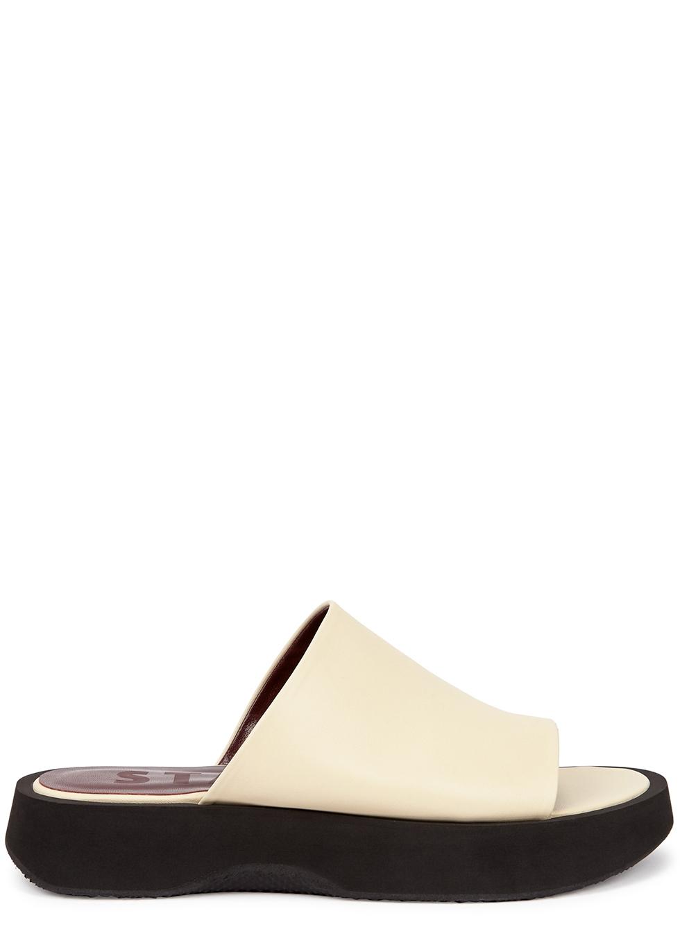 Alpine cream leather flatform sliders