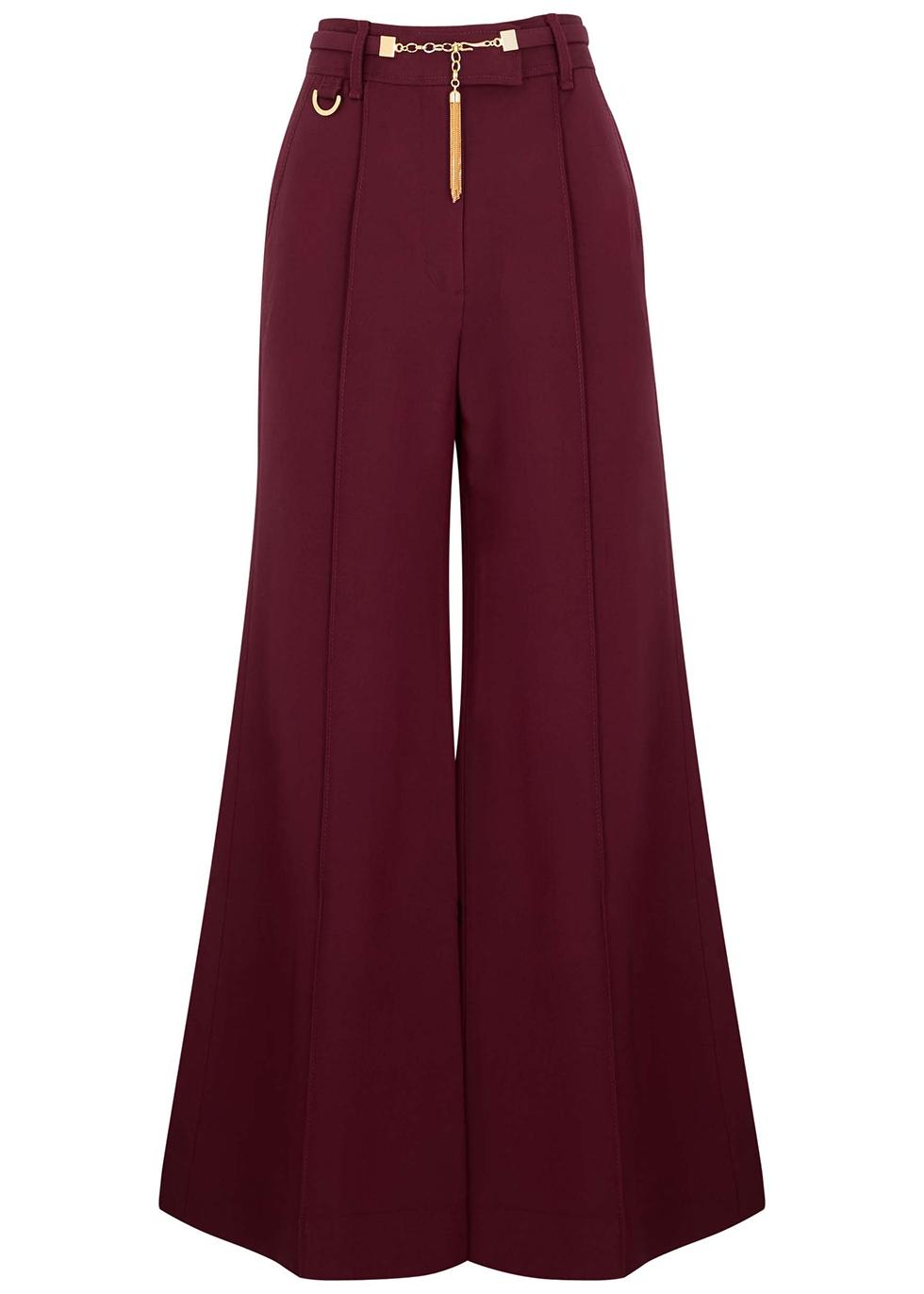 Concert burgundy wool-blend trousers