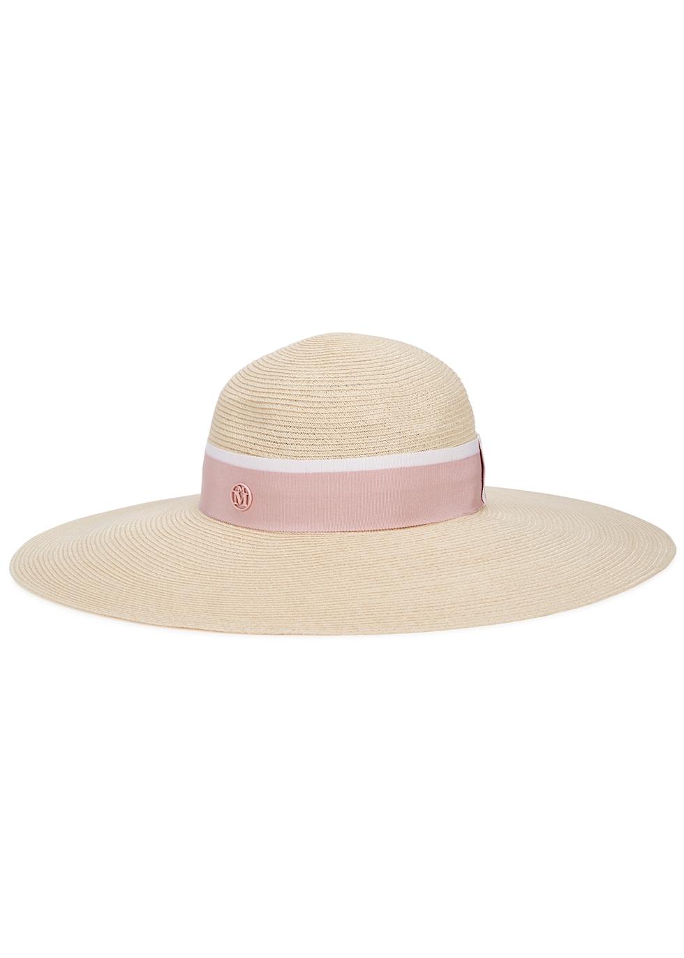 Blanche sand straw wide-brim hat
