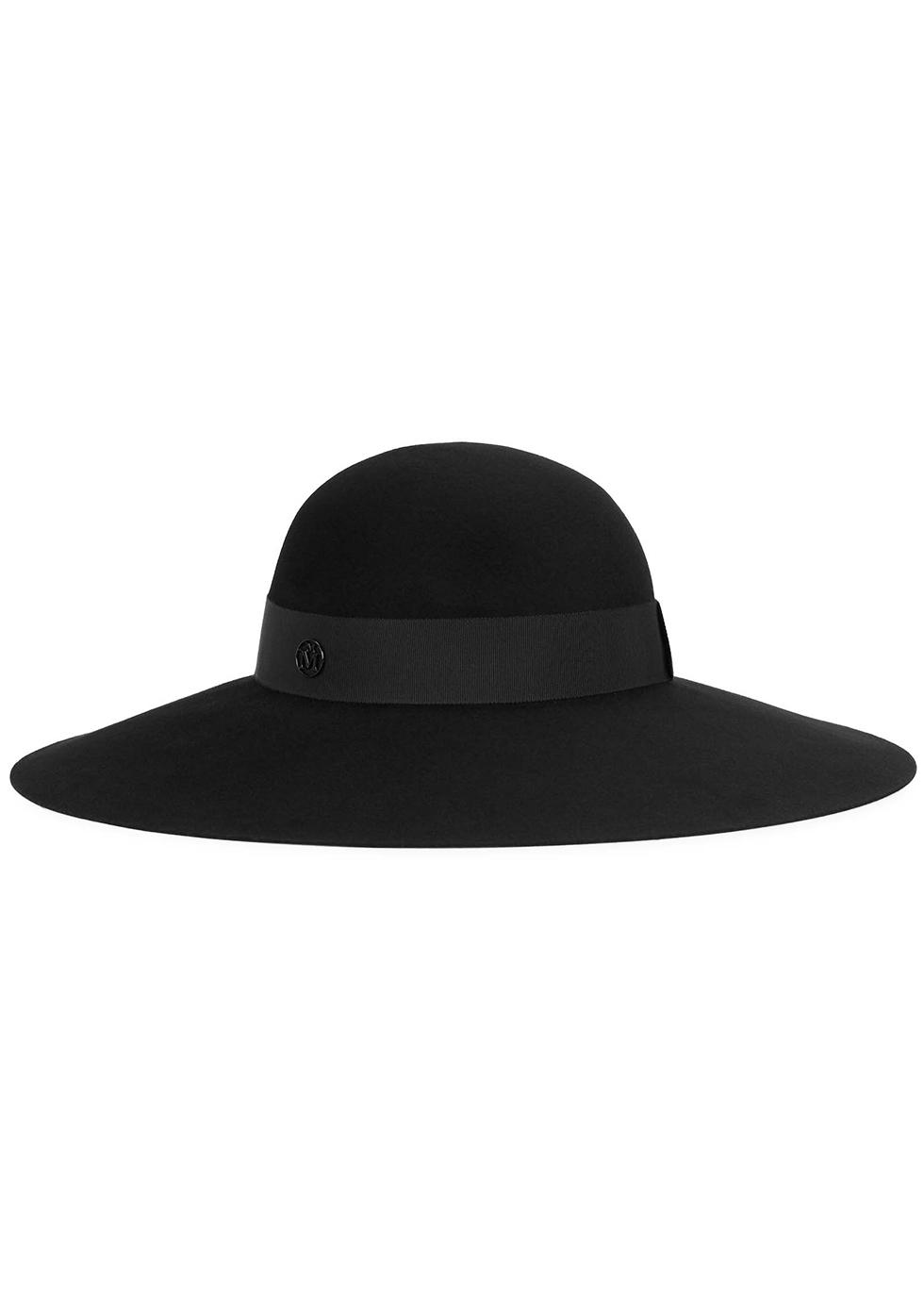 Blanche black felt wide-brim hat