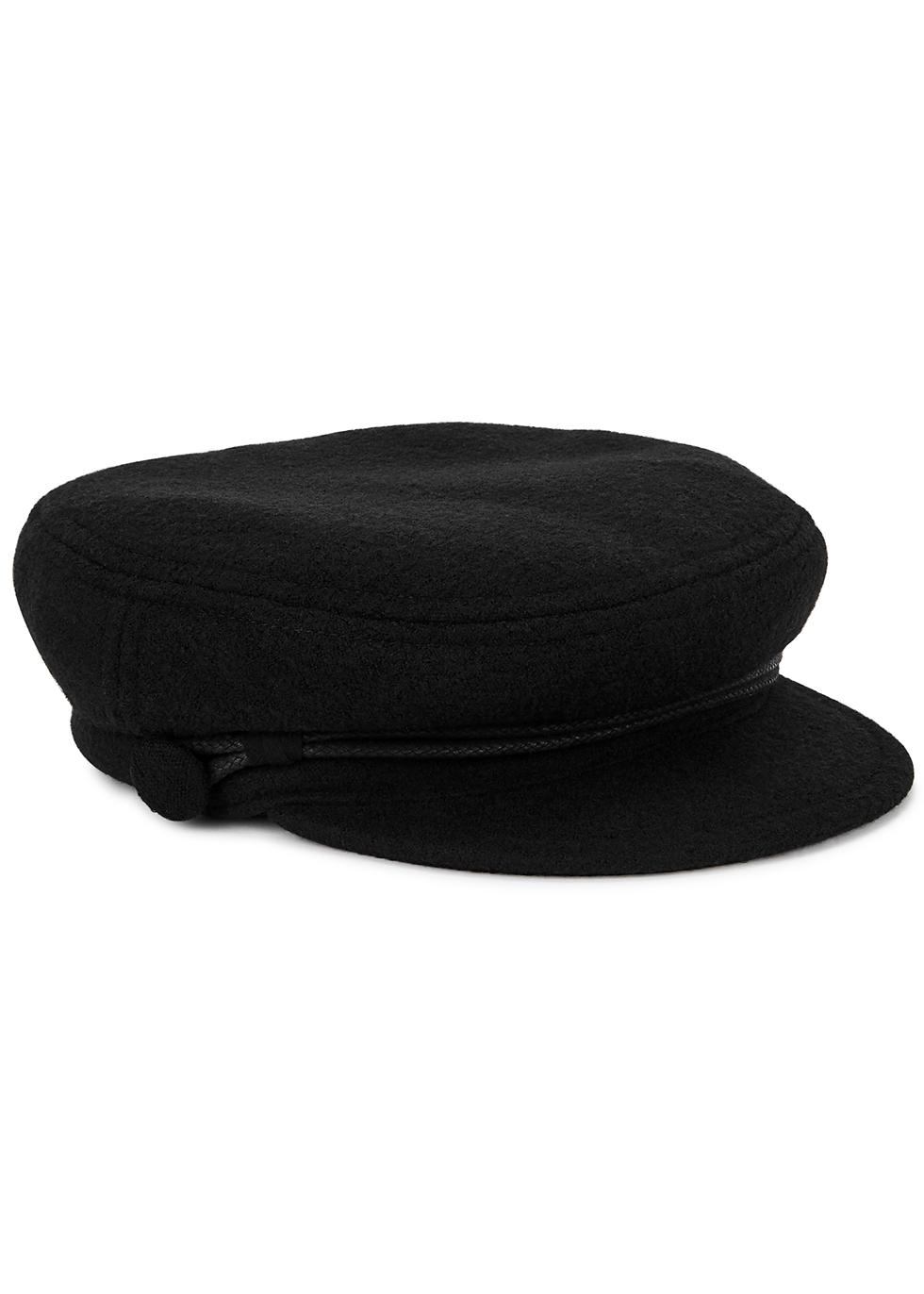 New Abby black bouclé wool cap