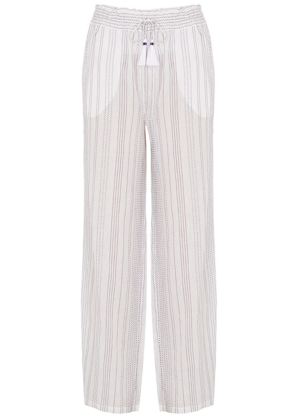 Carmi white straight-leg cotton-blend trousers