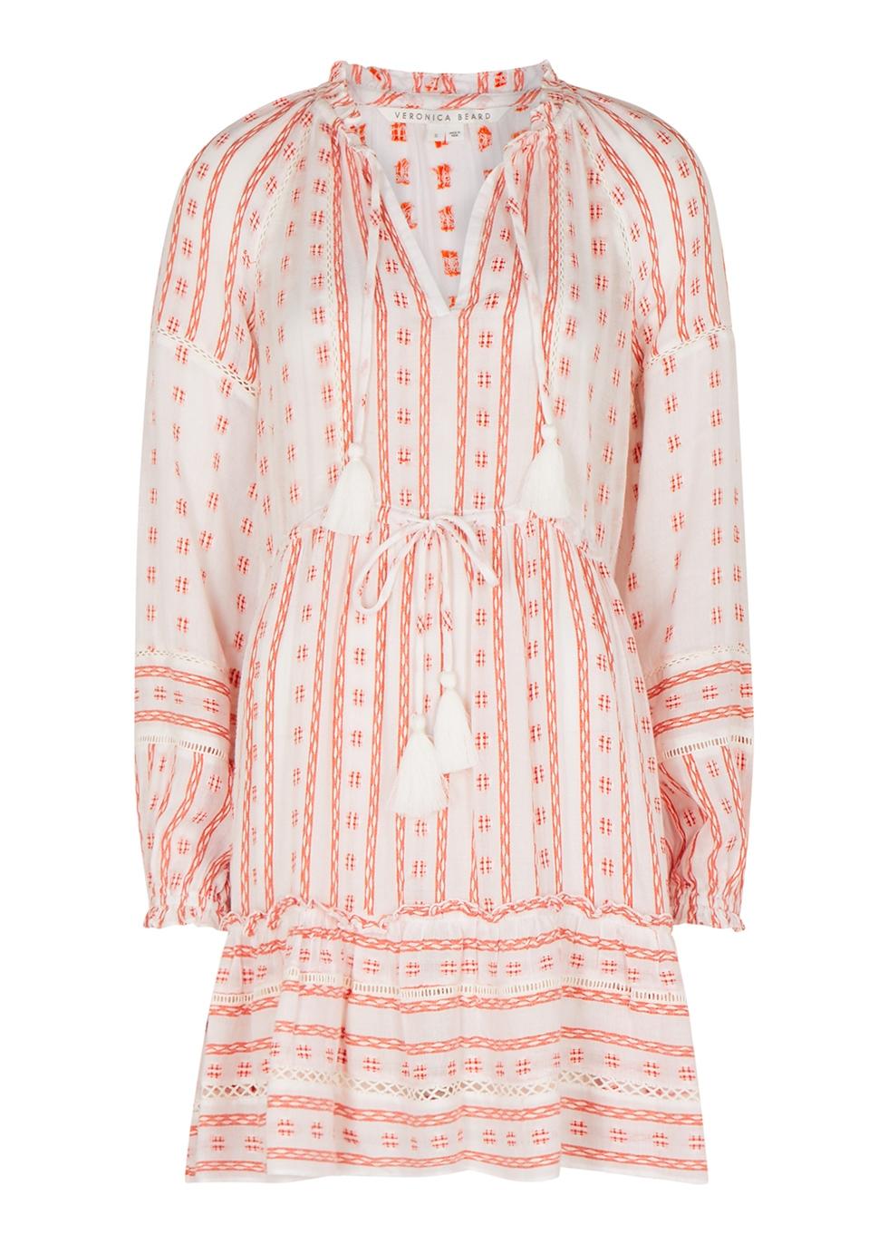 Danica white embroidered gauze mini dress