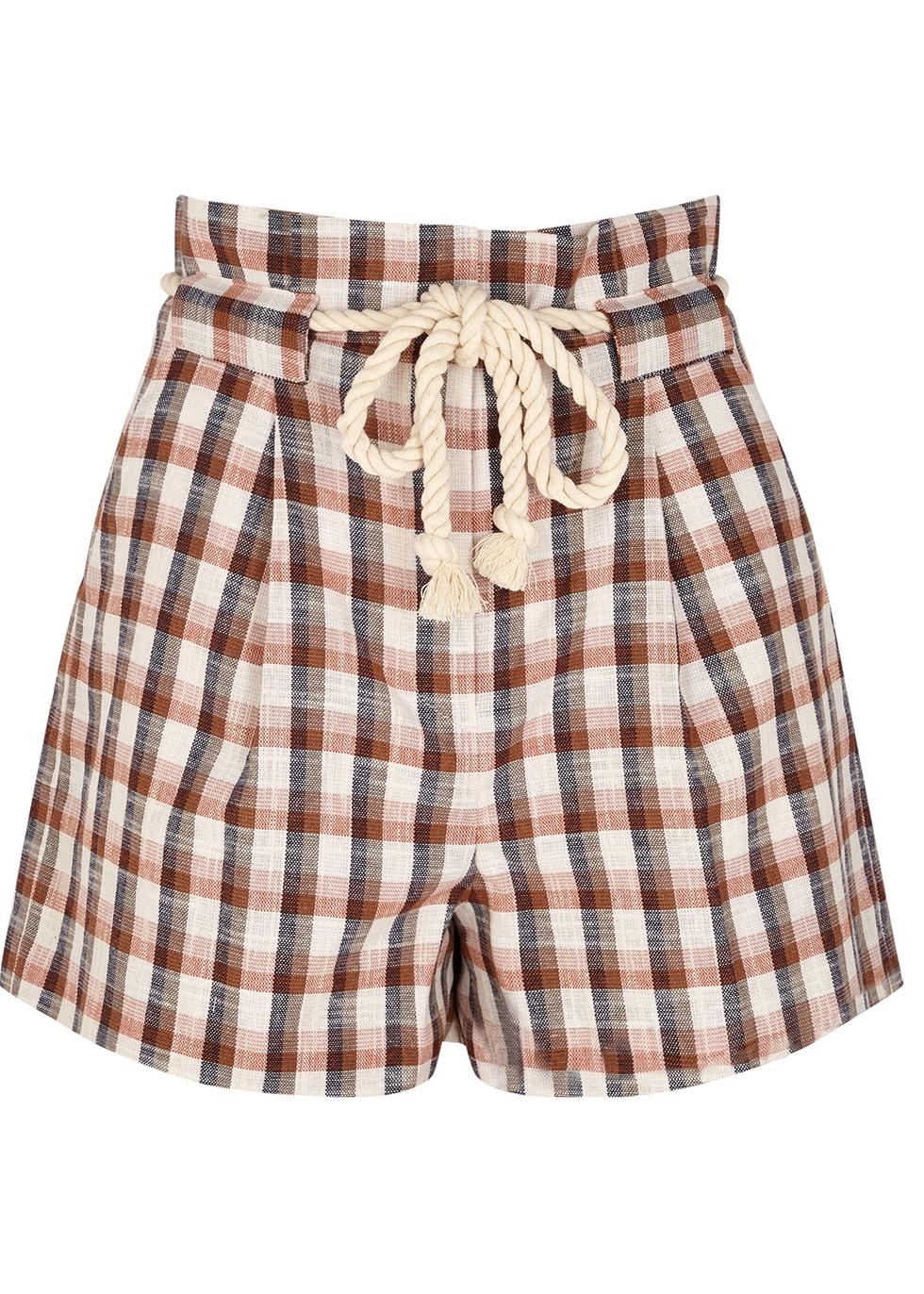 Salika checked cotton-blend shorts