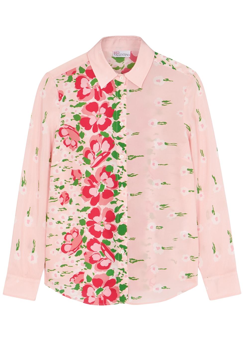 Pink floral-print silk crepe de chine shirt
