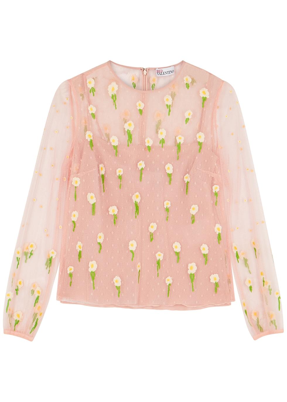 Light pink floral-embroidered point d'esprit top