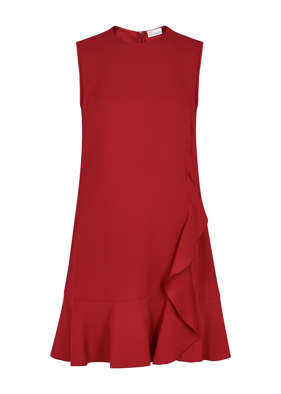 Red ruffle-trimmed mini dress