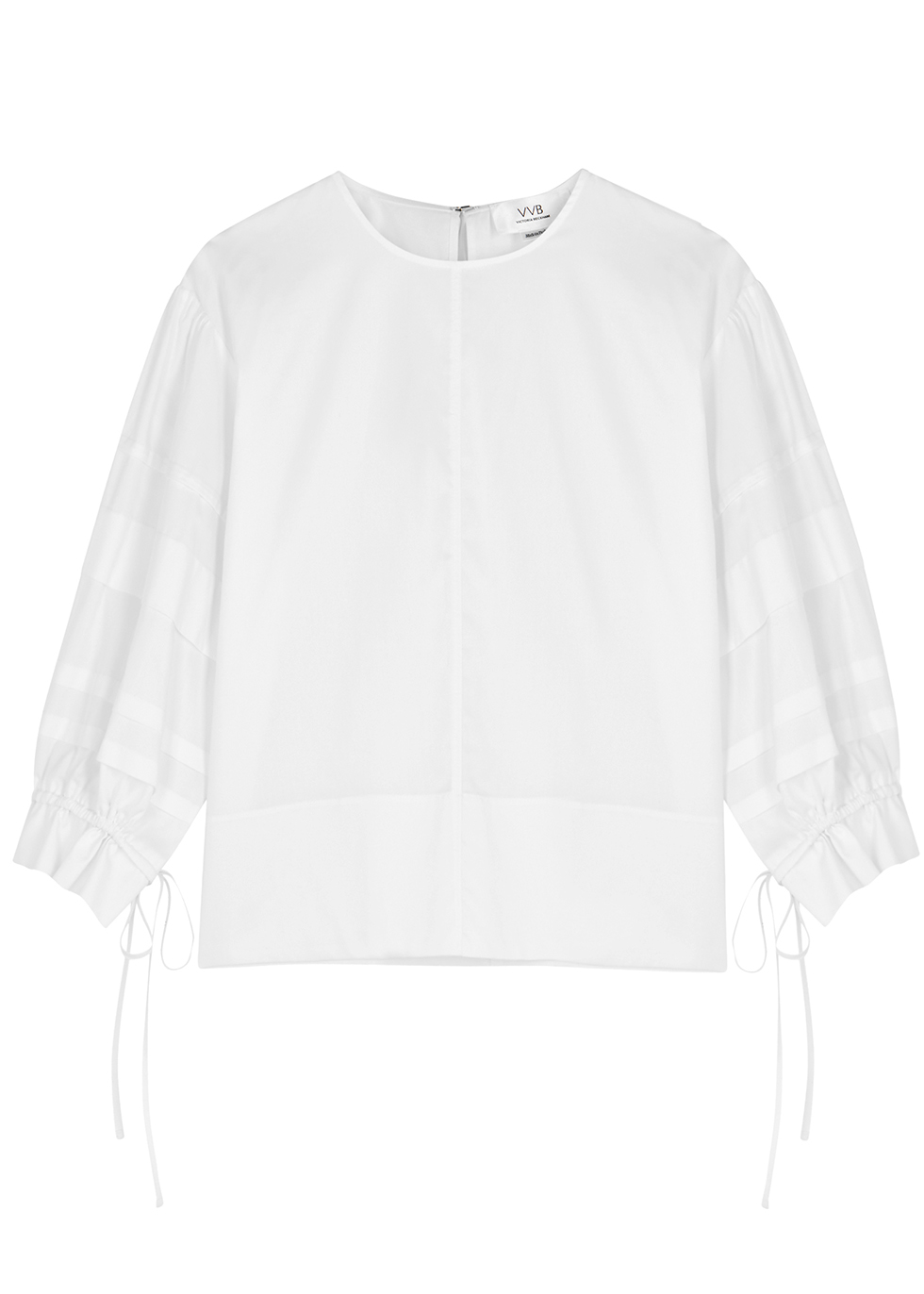 White pleated cotton top